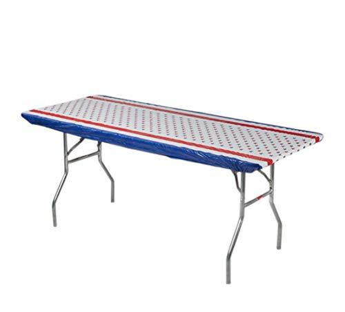 Kwik-Covers 8 Rectangle Plastic Table Covers 30 x 96, Bundle of 5 (Patriotic)