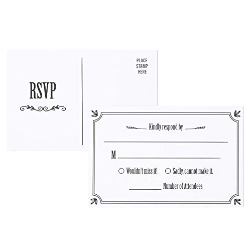 - RSVP Cards - 50-Pack RSVP Postcards, Response Card, Wedding Return Cards - RSVP Reply for Wedding, Engagement Party, and Party Invitation Postage Saver, 4 x 6 Inches