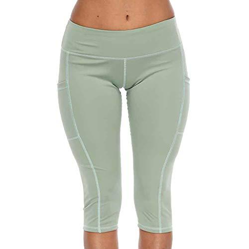 Knicker Capris - TOTOD Capri Leggings for Women Running Yoga Tight Pants Sport Slacks Hips High Waist Thread Pant Mint Green