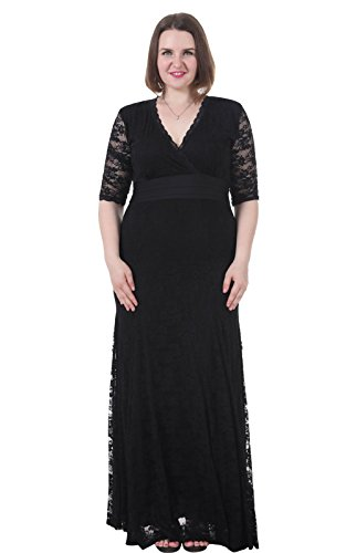 Sapphyra-Womens-Plus-V-neck-34-Sleeve-Stretch-Maxi-Casual-Dress-Size-1X-5X