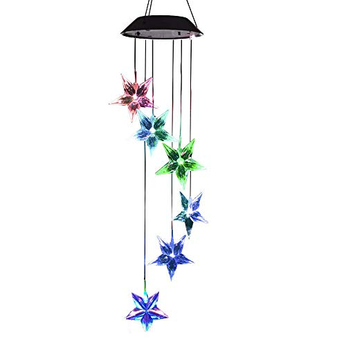 Solar Star Wind Chimes Outdoor,LED Color Changing Solar Lights Outdoor Decor Mobile Wind Spinner Wind Chimes for Home Party Night Garden Decoration by Wanmingtek