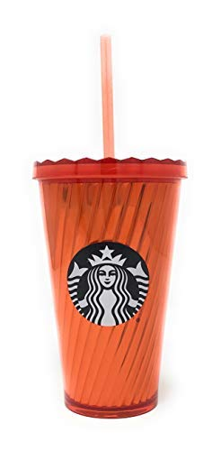Starbucks Cold Cup Insulated Travel Tumbler Orange and Black 16 fl oz Halloween Gift Perfect for Pumpkin Spice Latte or Coffee