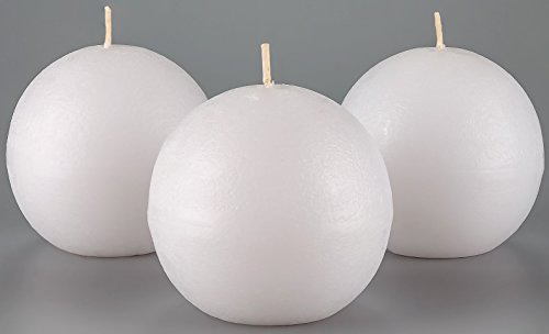 Melt Candle Company Set of 3 White Sphere Ball Candles 3