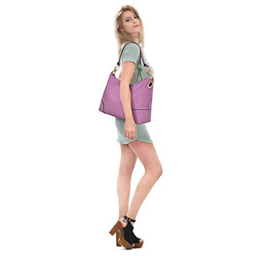 Women Faux Top Large Shoulder Bag Handbag Hobo Ladies Leather pink Vegan Tote Purses Classic Handle qdAavq
