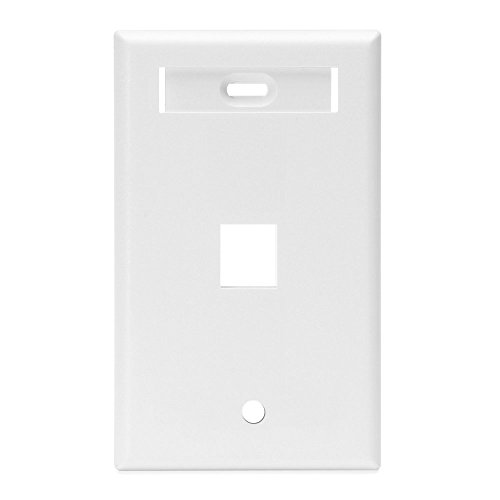 Leviton 42080-1WS QuickPort Wallplate with Id Window, Single Gang, 1-Port, White ()