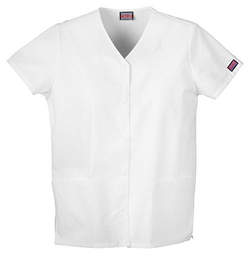 Cherokee Workwear Women's Snap Front V-Neck Shirt_White_XXX-Large,4770
