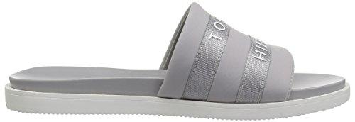 Flat Hilfiger Women's Script Grey Sandal Tommy Yxw486Cwnq