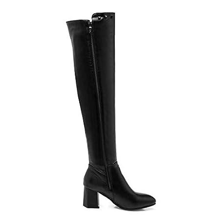 HAOLIEQUAN Plus Größe 33 48 Frauen Overknee Stiefel Metall