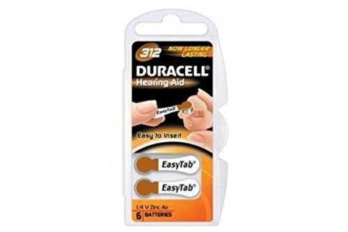 96 X Size 312 Duracell (Da312) Easy Tab Hearing Aid Batteries by Duracell