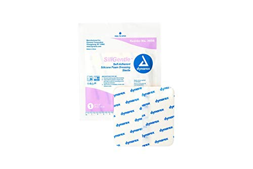Dynarex Siligentle Sterile Non-Adhesive Silver Silicone Foam Dressing for Wound Care, 10 Count