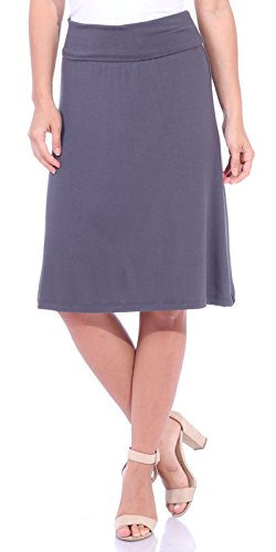 Popana Women's Casual Stretch Midi Knee Length Short Summer Skirt - Made in USA Small Slate