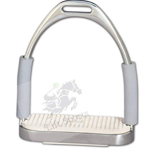 Lift Sports Horse Saddle English Riding Flex Fillis Iron 5 Inch Double Jointed Safety Stirrups Durable Rust Free Stainless Steel Polish Silver