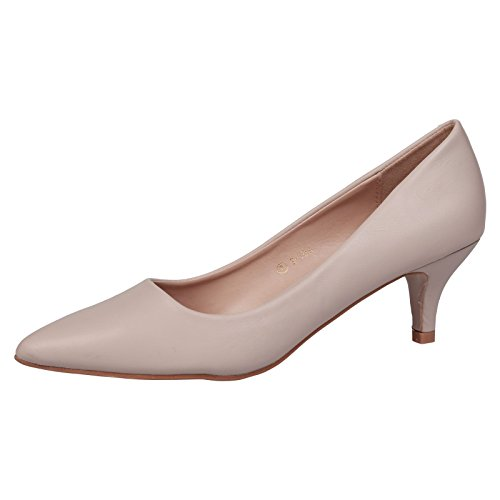 ByPublicDemand Miranda Womens Low Kitten Heel Slip On Pointed Toe Court Shoes Nude Faux Leather