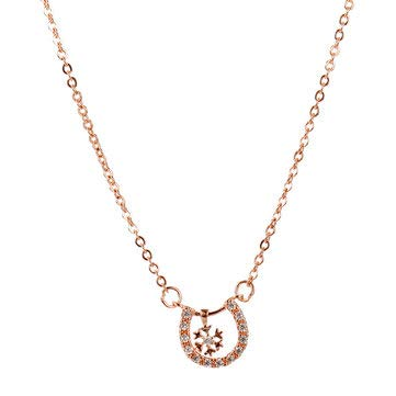 Classic Rose Gold Necklace Trendy Geometric Snowflake Pendant Delicate Chain Necklace - Fine Jewelry Fine Necklaces