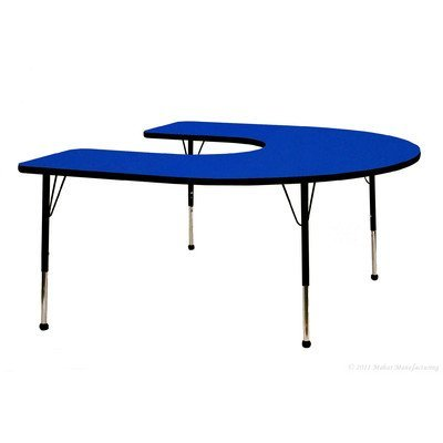 """Creative Colors N6066HBL-SN Activity Table, Self-Leveling Glides, Standard Height, 60"""" x 66"""" Horseshoe, Gray Nebula Top, Blue Edge from Creative Colors"""