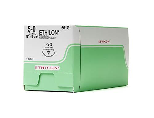- Ethicon ETHILON Nylon Suture, 661G, Synthetic Non-absorbable, FS-2 (19 mm), 3/8 Circle Needle, Size 5-0, 18