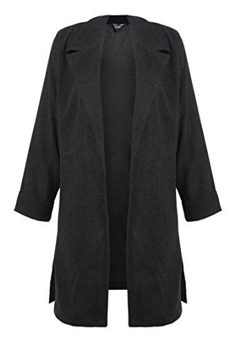 Cashmere Womens Overcoat - Zeagoo Ladies Lapel Collar Cashmere Cardigan Trench Woolen Coat Overcoat,XXX-Large,Black