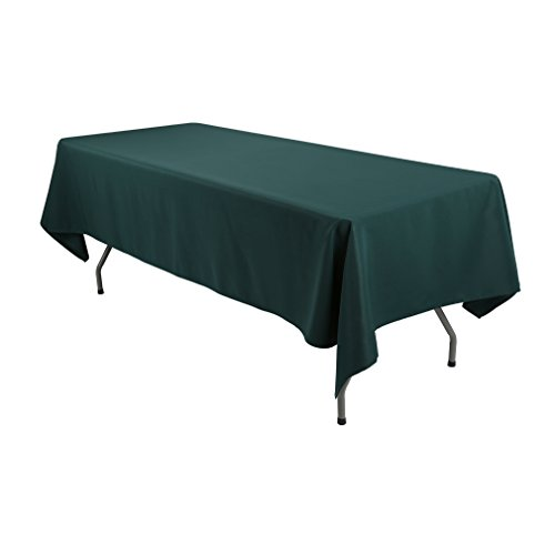 E-TEX Rectangle Tablecloth - 60 x 126 Inch - Hunter Green Rectangular Table Cloth for 8 Foot Table in Washable Polyester (Green Table Fabric Cloths)