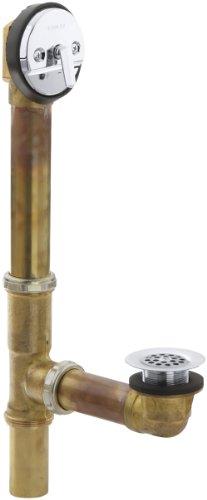 - KOHLER K-11660-CP Swiftflo 1-1/2-Inch Adjustable Trip Lever Drain, 17-Gauge Brass, For 14-Inch To 16-Inch Baths, Polished Chrome