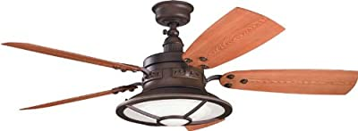 Kichler Lighting Harbour Walk Patio 52-Inch Ceiling Fan with Reversible Walnut/Cherry Blade and Fresnel Lens Glass