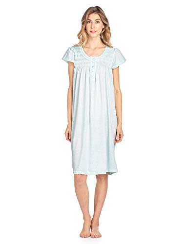Casual Nights Women's Short Sleeve Smocked and Lace Nightgown - Green - Large ()