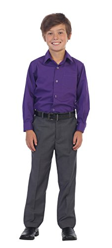 (Gioberti Boys Flat Front Dress Pants, Charcoal,)