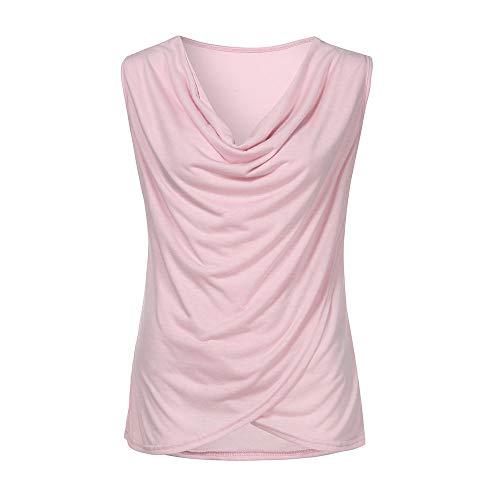 (Sunhusing Summer Ladies Cozy Cotton Blend Blouse Sleeveless Vest Solid Color Plus Tank Top Shirt Pink)