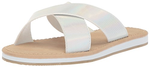 The Children's Place Girls' E BG Cross SS Flat Sandal, White, Youth 4 Medium US Big Kid