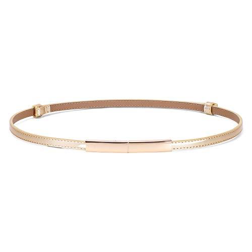 JASGOOD Women's Skinny Patent Leather Belt Adjustable Slim Waist Belt with Gold Buckle for Dress Fit 24-40Inch