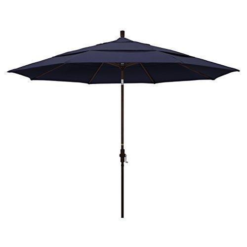 California Umbrella 11' Round Aluminum Market Umbrella, Crank Lift, Collar Tilt, Bronze Pole, Sunbrella Navy