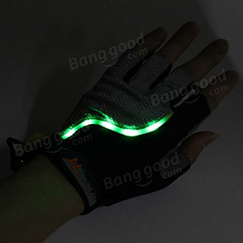 Bicycle Bike Cycling Gloves LED Lighting Half Finger Gloves by Anddoa (Image #7)