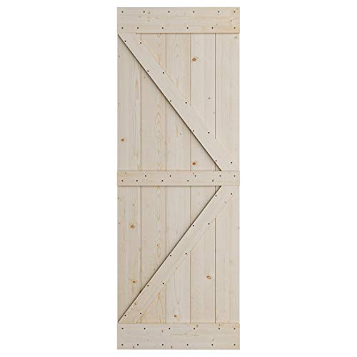 SmartStandard 30in x 84in Sliding Barn Wood Door Pre-Drilled Ready to Assemble, DIY Unfinished Solid Nature Wood…