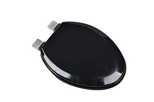 Bath Décor 1F1E5-90CH Premium Molded Wood Elongated Toilet Seat with Adjustable Decorative Chrome Hinge Caps & OSG, Black