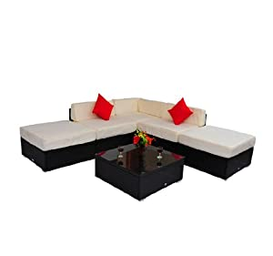 Deluxe Outdoor Rattan Garden Wicker 6-Piece Sofa Set Patio Sectional Furniture from Outsunny