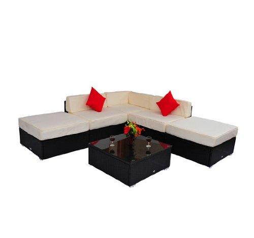 Deluxe Outdoor Rattan Garden Wicker 6-Piece Sofa Set Patio Sectional Furniture price