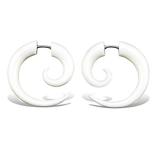 Fake Gauge Earrings Hand Carved Bone Small Spirals