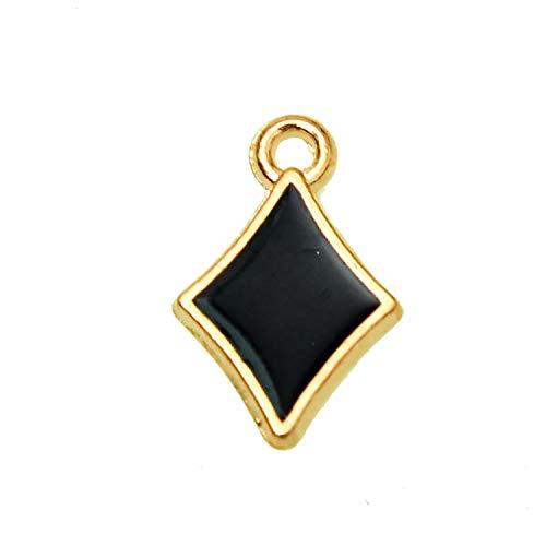 Monrocco 20 Black Enamel Diamond Charms Card Suit Charm for Jewelry Making Bracelet, DIY Diamond Playing Cards Charm