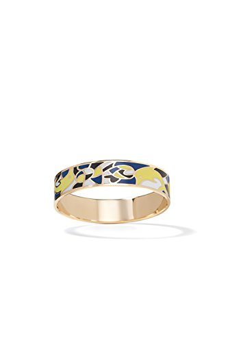 Enameled Cuff (Enamel Bracelet Cuff Bangle Multicolor Abstract Wristband Enameled Women Jewelry (dark blue, yellow, white))