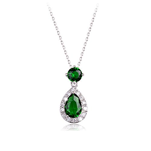 (White Gold Plated Teardrop and Round Shaped Emerald Green Swarovski Elements Crystal Pendant Necklace Fashion Jewelry for Women)