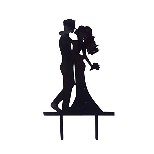 Acrylic Wedding Cake Topper - Classical Black Wedding Cake Topper Acrylic Wedding Party Cake Topper Groom and Bride Kiss Beautiful Kissing Sweet Cake Topper