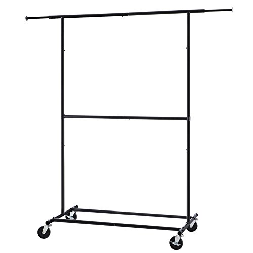 SONGMICS Telescopic Double Rods Garment Rack Free Standing Rolling Clothes Rack Heavy Duty Black - Rail Guard Holder
