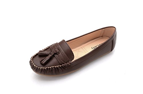 Mila Lady Mlia Lady (YVONNE-01) Women Fashion Loafer Slip On Moccasins Driving Boat Shoes Brown f7DztniAZr