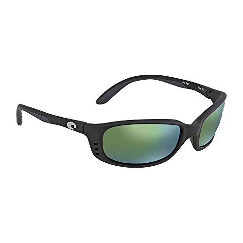Costa Del Mar Brine Sunglasses, Black, Green Mirror 580Plastic Lens from Costa Del Mar