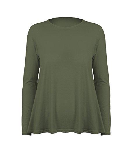 Damen Top Langärmlig mit Rundhals Einfarbigs Dehnbares Schwing T-Shirt - M/L  (