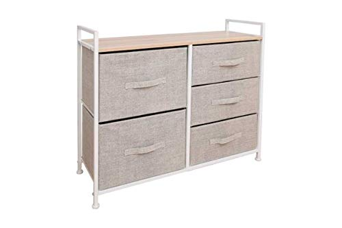 East Loft Storage Cube Dresser | Organizer for Closet, Nursery, Bathroom, Laundry or Bedroom | 5 Fabric Drawers, Solid Wood Top, Durable Steel Frame | Natural (Furniture Closet Organizer)