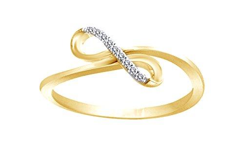 Blanca Natural de la moda de diamante infinito anillo en 10K oro macizo (0,05ct)