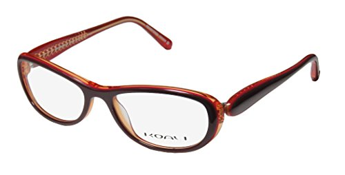 Koali 7183k Womens/Ladies Rxable Premium Quality Designer Full-rim Eyeglasses/Eye Glasses (51-16-130, Plum / Transparent Orange / - Eyeglasses Designer Free