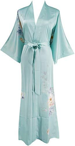 Ledamon Women's Silk Satin Kimono Long Robe - Classic Floral Nightgown Bathrobe Sleepwear (Light Blue)