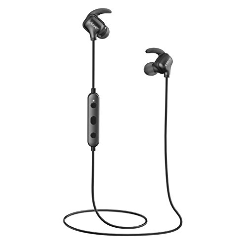 iClever Wireless Bluetooth Headphones with Microphone, Rich Bass, Wind-Noise Reduction, Running Sport Headphones Bluetooth Earbuds for iPhone X - Black