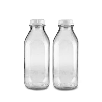 The Dairy Shoppe 1 Qt Glass Milk Bottle Vintage Style With Cap (2 Pack) by The Dairy Shoppe